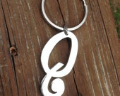 Queer Keychain Silver Toned Initial Q Monogram Heavy