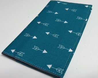 Checkbook Cover Case Receipts Coupons Money - White Arrows Fabric - Choose your Color