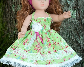 """American handmade clothes for 18"""" or 23"""" girl doll, green pink doll dress, doll headband, 18"""" doll tea party twirl dress, doll sundress,"""