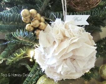 Shabby White Christmas  Ornament, Rag Ball, Rustic Christmas Tree Ornament Set/3