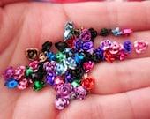 BULK 50 c Aluminum Rose Spacermixed colors beads Upcycled repurpose 5 mm Art Destash lot