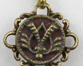 Perfume Button - Antique Victorian 1800's Ornate Brass & Velvet Scent Jewelry