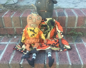 Primitive Halloween Witch Toothy and Scaredy Jack ready to ship