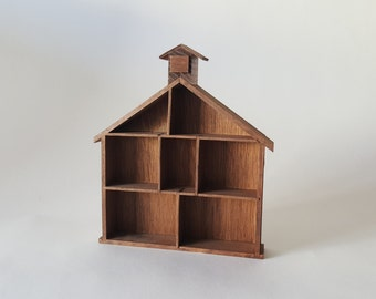 Farm or Church Style Wooden Shadow Box to hold treasures and figurines Wood ~ The Pink Room ~ 161004