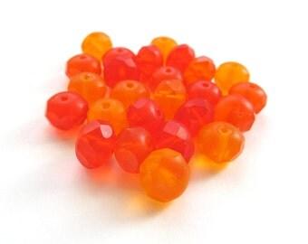 Matte Tangerine Orange Mix Czech Glass Rondelles, 8mm x 6mm - 25 pieces