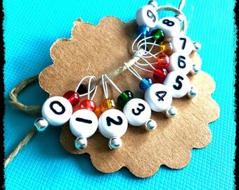 Snag Free Stitch Markers Extra Small Set of 10 -- Rainbow with Numbers -- J46 -- Up to size US 4 (3.5mm)