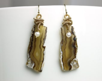 Persian Gulf Agate Slice Earrings with Gold Fill Coils and Pearl Accent