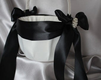 Large-White or Ivory Flower Girl Basket -Custom Ribbon Colors-Your Choice Brooch-Flower Girls Age 8+