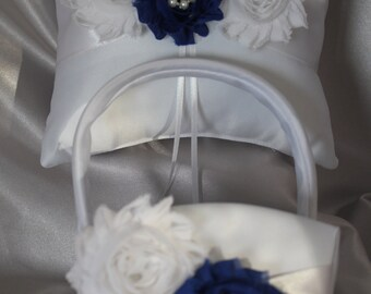 White or Cream Ring Bearer Pillow and Flower Girl Basket with Shabby Chic Trim in Royal Blue- Pearl Accent