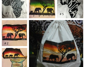 African bags, African backpack, lightweight cotton backpack, African, Africa map, elephants hand painting