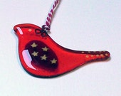 Fused Glass Scandinavian orange red tangerine star gold bird decoration