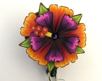 Orange and Purple Tropical Flower ID Badge Reel, Scissor Keeper, ID Lanyard, Scissor Fob