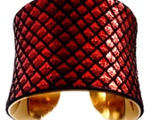Red Dragon Scale Leather Cuff Bracelet - by UNEARTHED