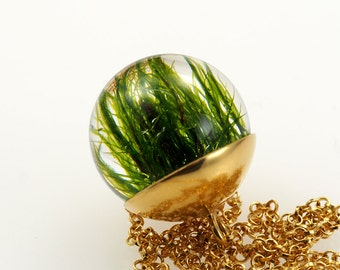 Small 24K Gold Plated Silver and Moss Pendant, 18 mm round,Sterling Silver Necklace or Bracelet, Small Round pendant with Chain