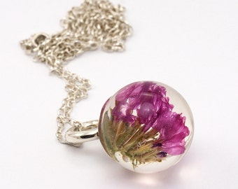 Sea Lavender Necklace, Silver and Resin Jewellery, Romantic Necklace, Pink Flower Necklace