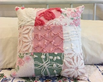 """Vintage Chenille Patchwork Pink Cottage Pillow Case made from chenille Bedspread 14""""X 14"""""""