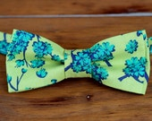 Boys green floral bow tie - boys green blue cotton flower bowtie - infant baby toddler child preteen boy kid bow tie - boys floral bow tie