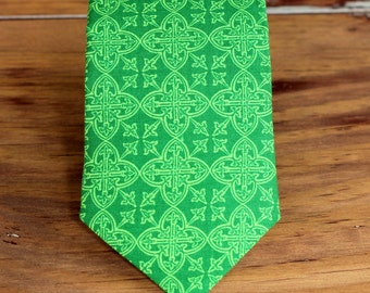 Green Mens Necktie - mens green Gaelic print cotton necktie - mens Irish necktie - teen St. Patrick's Day tie - St Pats Day necktie - gift