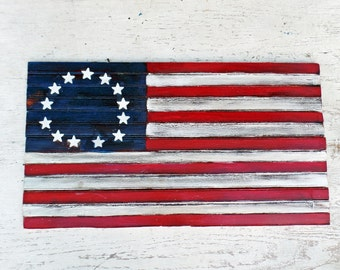 Wooden American Flag, Reclaimed Wood Decor, Distressed Flag, Americana Decor, United States Flag, Reclaimed Wood Wall Art, Colonial Flag