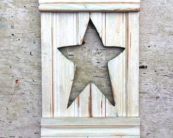 Folk Art Star,Reclaimed Wood Art, Star Wall Decor, Rustic Wood Star, Nursery Decor, Recycled Wood Decor,  Wooden Star, Americana Decor