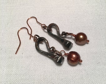 Rusty Gold Earrings Horseshoe Nails and Pearls