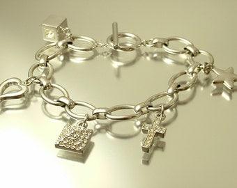 Vintage 1990s designer Attwood & Sawyer rhodium plated and rhinestone charm costume bracelet - jewelry jewellery