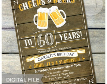 "Surprise 60th Birthday Invitation Cheers & Beers Invite Rustic Wood Country Style - Men Women - 5"" x 7"" Digital Invite"