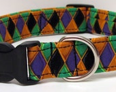 Ready for Madri Gras Handmade Dog Collar
