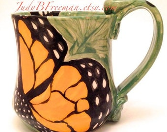 Monarch Butterfly Mug Handmade Ceramic Made to Order Stoneware Wheel Thrown MG0047