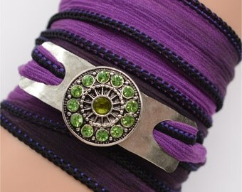 Silk Wrap Bracelet - Yoga, Bohemian, Gypsy- Price Reduced by more than 20%