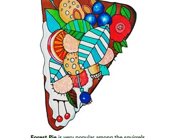 Idea Emporium Forest Pie Whimsical Postcar