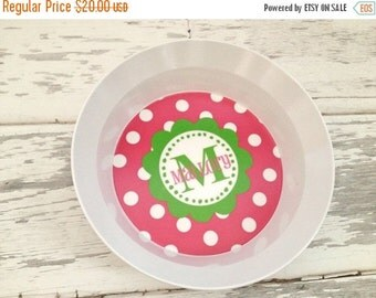 ON SALE Personalized Pink and Green Flower Plate or Bowl