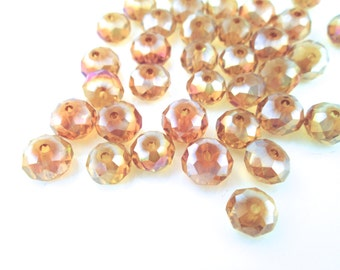 12 8x6mm Czech glass crystal beads, aurora borealis finish faceted abacus rondelle (golden topaz) ABFA8