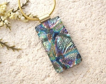 Gold Purple Green Necklace, Fused Glass Jewelry, Dichroic Pendant, Multi Color Necklace, Dichroic Jewelry, Gold Necklace, 022516p103