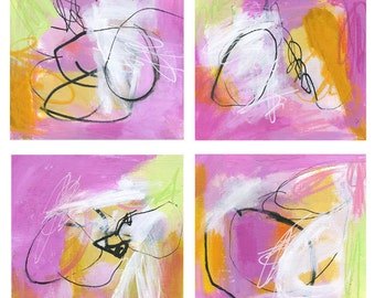 Pink Abstract Paintings on Paper with Yellow, Green, Black and White Design, Set of Four