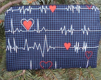 Nurses make up bag, makeup case, accessory bag, zippered pouch, zippered bag, Heart Monitors,The Scooter