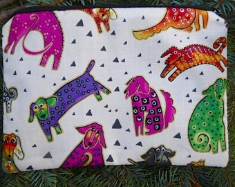 Dogs zippered bag, make up bag, accessory bag, Laurel Burch Dogs and Doggies, The Scooter