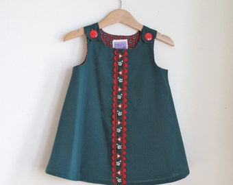 Red & Green Heart Rickrack Girls Christmas Holiday Dress, Newborn, Baby, Toddler Girls Children's Dress - Size Newborn to Girls size 6