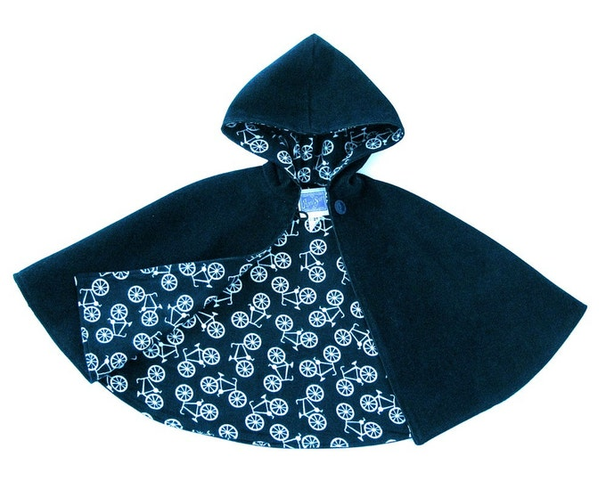 Navy Blue Corduroy Boys or Girls Warm Winter Hooded Cape with Bicycle Lining - Size 1/2T - Cape, Cloak, Coat, Jacket, Capelet, Hoodie