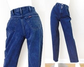 Sz 4-5 90s Sasson High Waisted Mom Jeans - Vintage Women's Baggy High Rise Tapered Leg Stone Wash Dark Rinse Denim Jeans - 26 waist