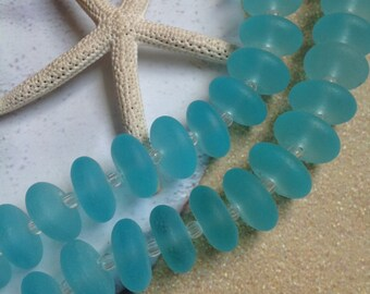14x4mm sea glass beads-cultured sea glass Rondelles-recycled blue glass-Aqua beach bead-frosted drilled glass-round beach glass bead strand
