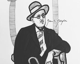 James Joyce 9x12 original ink line drawing