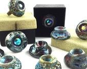 Moving SALE Raku Ceramic and Swarovski Ring, Pendant, Cabochon Jewelry Artisan Handmade                    by MAKUstudio