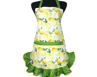 Lemon Apron for women with Green Retro style ruffle,  Unique Kitchen Decor