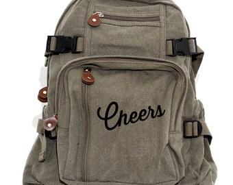 Backpack, Cheers Canvas Backpack, Hipster Backpack Laptop, Girls Backpack, College Backpack Travel Rucksack, Diaper Bag