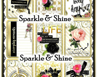 Sparkle & Shine Trendy ATC Set of 9 for Cards, Tags, Crafts, Pocket Letters Digital Printable INSTANT DOWNLOAD
