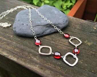Genuine Garnet Gemstone, Sterling Silver Necklace, 16 inch long, Red Garnet, Handmade Jewelry, Wire Wrap, Natural Garnet, January Birthstone