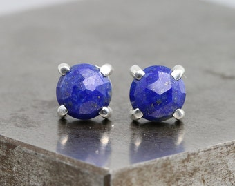 Small Rose Cut Lapis Stud Earrings - Sterling Silver Studs with 6mm Dark Blue Color Stones - Natural Round Gemstone Studs - READY TO SHIP