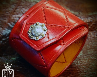 Leather Cuff Bracelet Red Custom Quilted Hand stitched Harlequin Diamond Luxury wristband handmade for You in NYC by Freddie Matara!