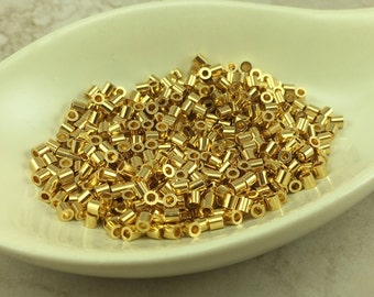 50 TierraCast 2mm x 2mm 22kt Gold Plated Copper Crimp Tube Beads - I ship Internationally 0030
